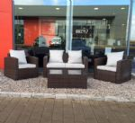 brown chunky rattan patio furntiture